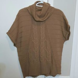 Cowl Neck Brown Sweater Short Sleeve small